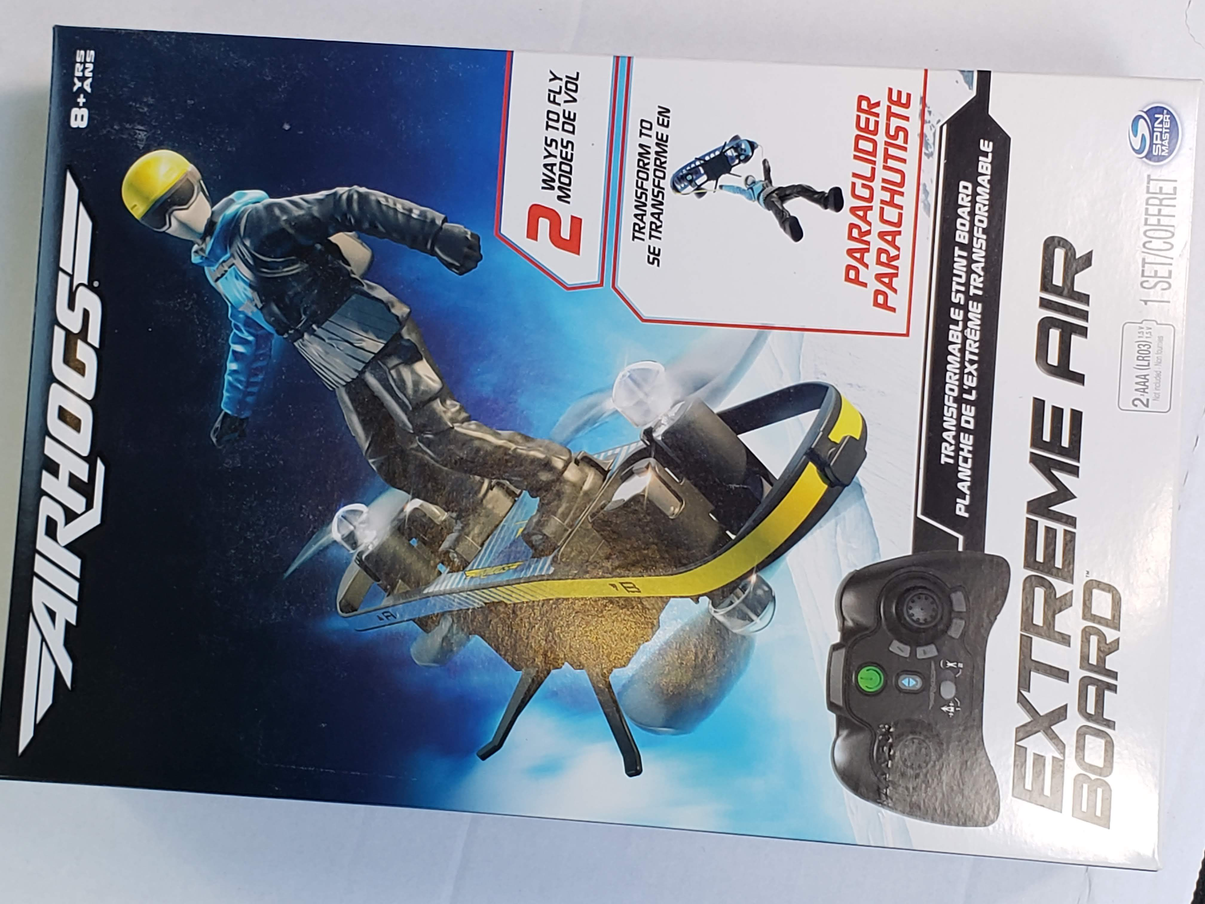 Air Hogs Extreme Air Board 2-in-1 Transforms from RC Stunt Board to Paraglider