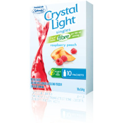 Crystal Light Singles Raspberry/ Peach flavour, package of 10