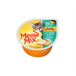 Meow Mix Tender Favorites with Real Turkey & Cheese in Sauce