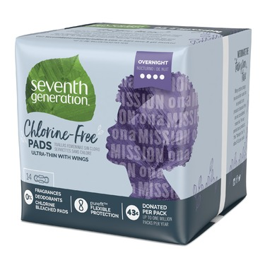 Seventh Generation Chlorine-Free Overnight Ultra-Thin Pads with Wings