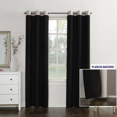Sun Zero Campus Fleece Lined Reversible Blackout Curtain Panel
