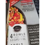 rubbermaid takealongs meal prep containers  4 bowls 5C/1.18L