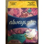 Always radiant with flex foam Extra heavy flow/ light clean scent