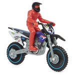 Supercross 1:24 Scale Die-Cast Motorcycle with Rider Figure and Race Ring