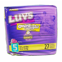 Luvs Ultra Leakguards Diapers, with Barney Size 5, Jumbo Pack 26230 - 27 diapers / pack, 4 packs