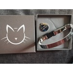 Cool Cat Collars Mouse Grey Metallic Luxury Leather Cat Collar