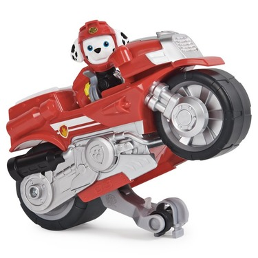 PAW Patrol Moto Pups Deluxe Pull Back Motorcycle Vehicle with Wheelie Feature and Figure