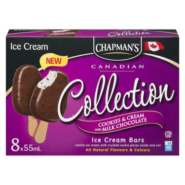 Chapman's Cookies & Cream and Milk Chocolate Ice Cream Bar