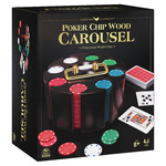 Cardinal Classics Poker Chips with Revolving Wooden Carousel and Playing Cards, 240 pieces