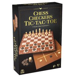 Cardinal Classics Chess Checkers and Tic-Tac-Toe Set Classic Strategy Game