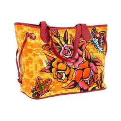Ed Hardy Bag Baby Diaper Tote Bag Butterfly Rose Tattoo Design w/ Swarovski Crystal Bling
