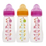 Mam Baby Bottle, Triple Pack, 4 Months, 11 Ounce, Colors May Vary