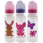 3-Pack BPA Free Printed 8oz Bottles with Medium Flow Silicone Nipple, Pink