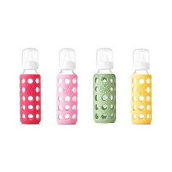 Lifefactory Glass Baby Bottles 4 Pack (9 oz. in Girl Colors)