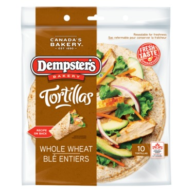 """Dempster's 10"""" Whole Wheat Tortillas"""