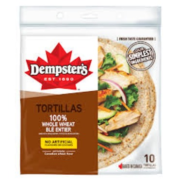 "Dempster's 10"" Whole Wheat Tortillas"