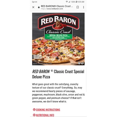 Red Baron Frozen Pepperoni Pizza