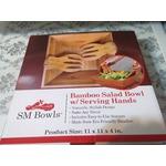 SM Bowls Bamboo Salad Bowl w/ Serving Hands