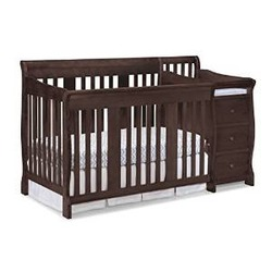 Stork Craft 04586-479 Portofino 4-In-1 Fixed Side Convertible Crib and Changer (Espresso)