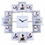 Soledi 12 picture aluminum Photo Frame wall Clock