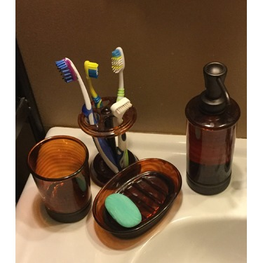InterDesign Bath Countertop Accessory Set, Soap Dispenser Pump, Toothbrush Holder, Tumbler, Soap Dish - 4 Pieces, Brown