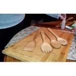 "CLASIER Organic Bamboo Cutting Board Extra-Large 12"" x 18"" & 4 Piece Utensils Set"